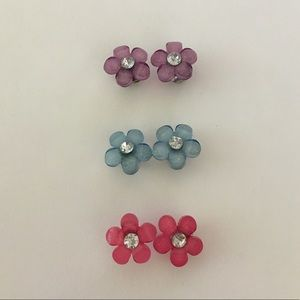 Justice Set of 3 Flower Earrings